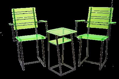 Sitzgruppe aus fluoreszierendem Acryl